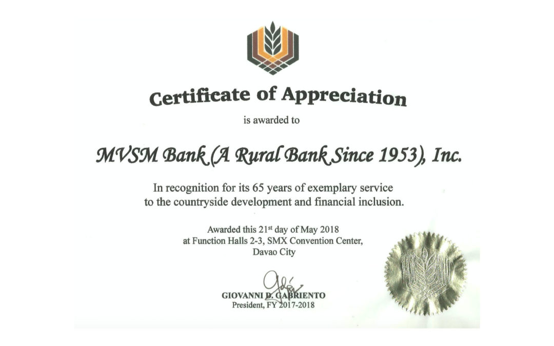 MVSM awarded with Certificate of Appreciation